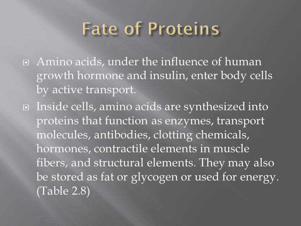 Fate of Proteins Amino acids, under the influence of human growth hormone and insulin, enter body cells by active transport.