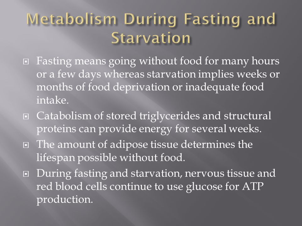 Metabolism During Fasting and Starvation