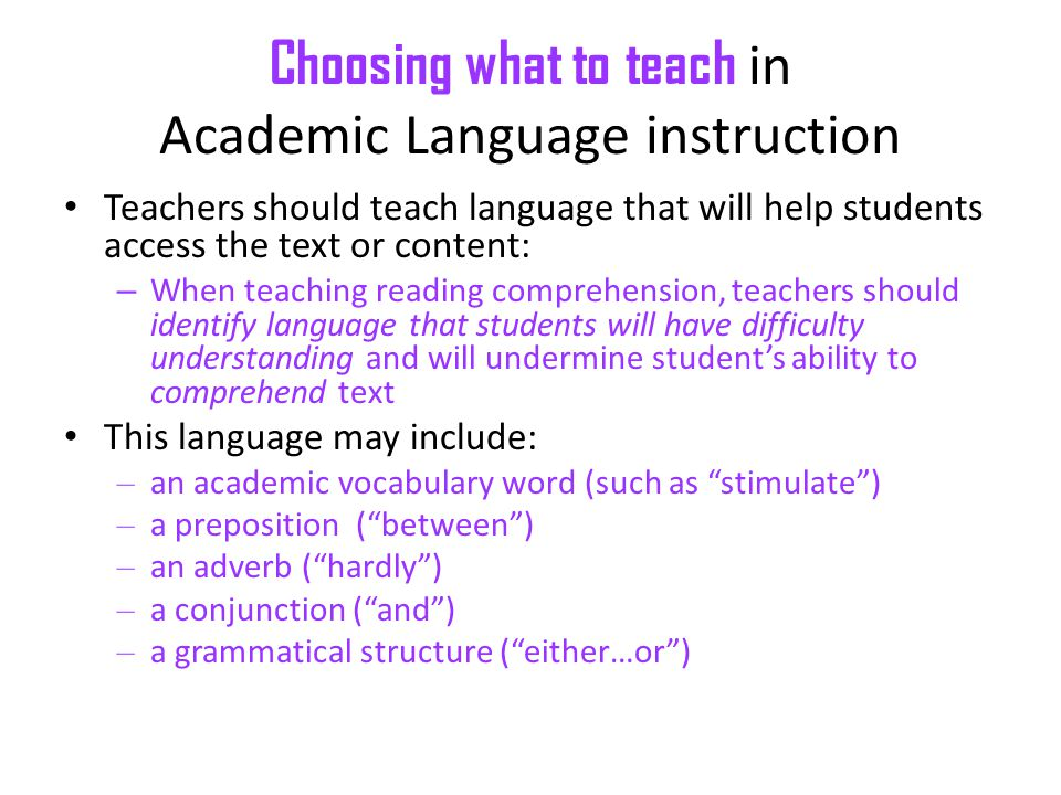 Choosing what to teach in Academic Language instruction