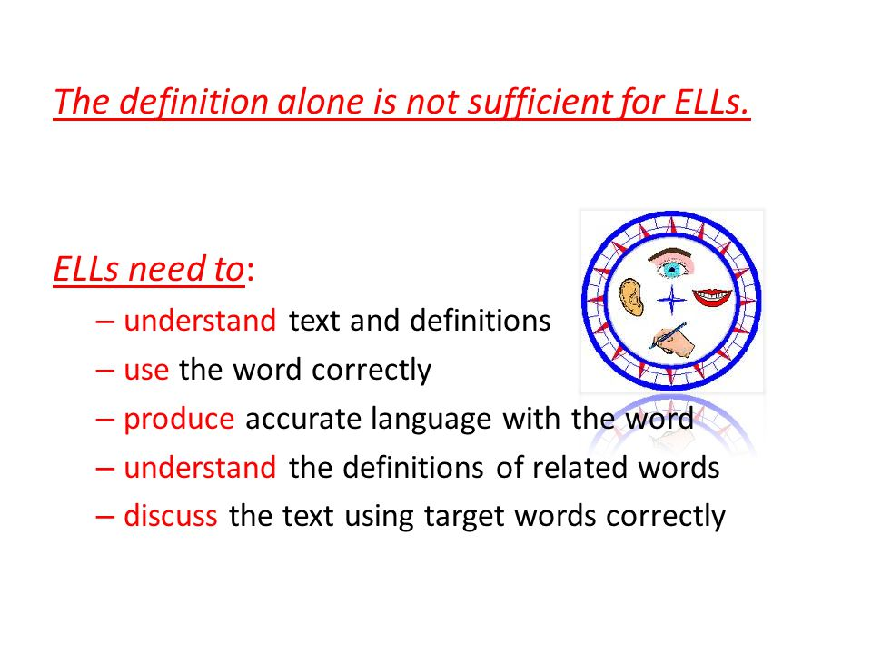 The definition alone is not sufficient for ELLs.