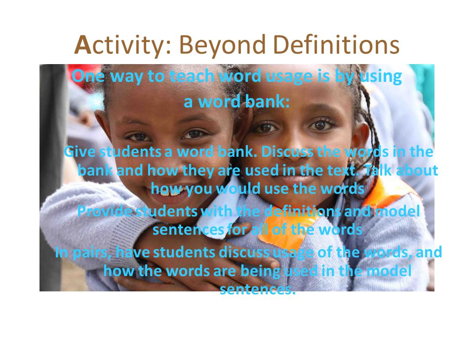 Activity: Beyond Definitions