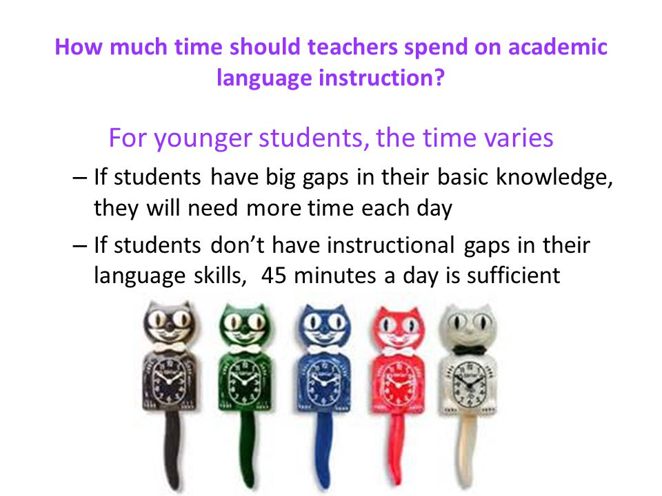 How much time should teachers spend on academic language instruction
