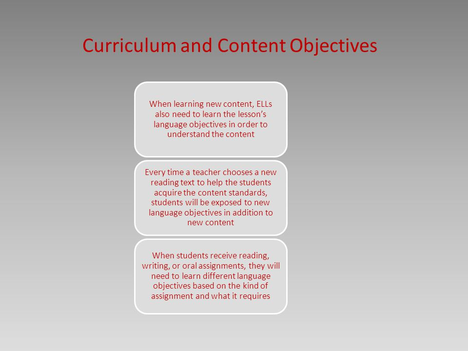 Curriculum and Content Objectives