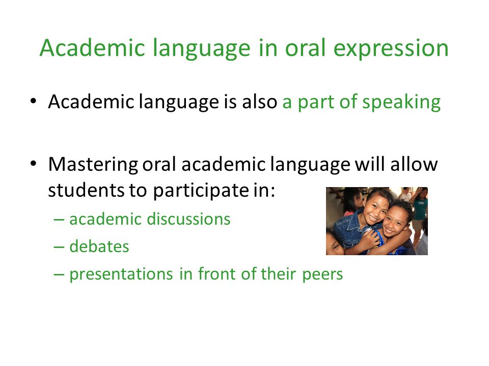 Academic language in oral expression