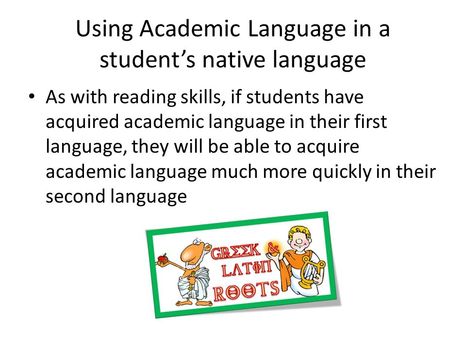 Using Academic Language in a student's native language