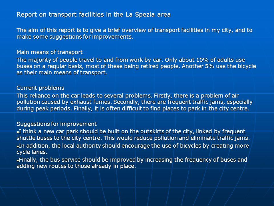 Report on transport facilities in the La Spezia area
