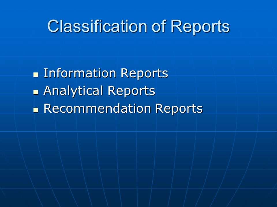 Classification of Reports