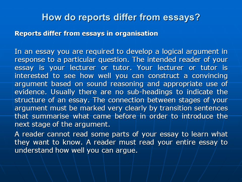 How do reports differ from essays