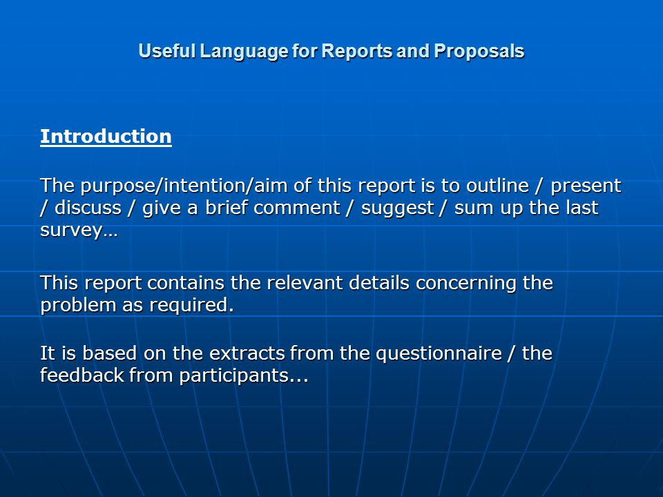 Useful Language for Reports and Proposals