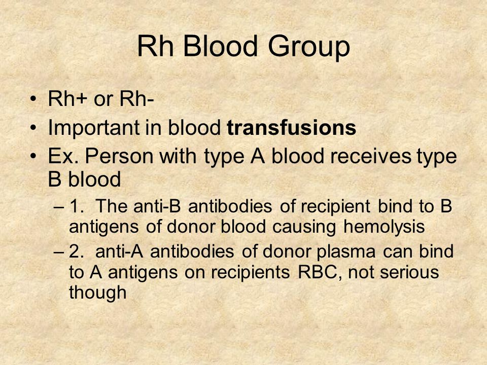 Rh Blood Group Rh+ or Rh- Important in blood transfusions