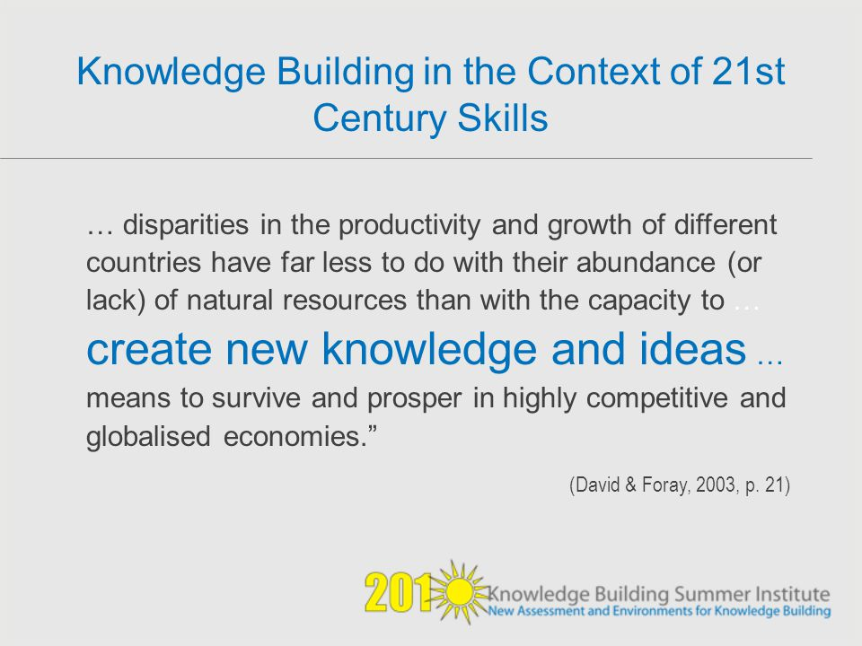 Knowledge Building in the Context of 21st Century Skills