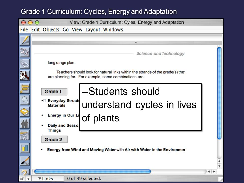 --Students should understand cycles in lives of plants