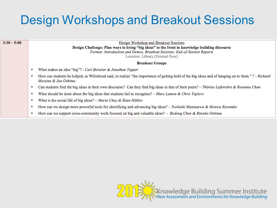 Design Workshops and Breakout Sessions