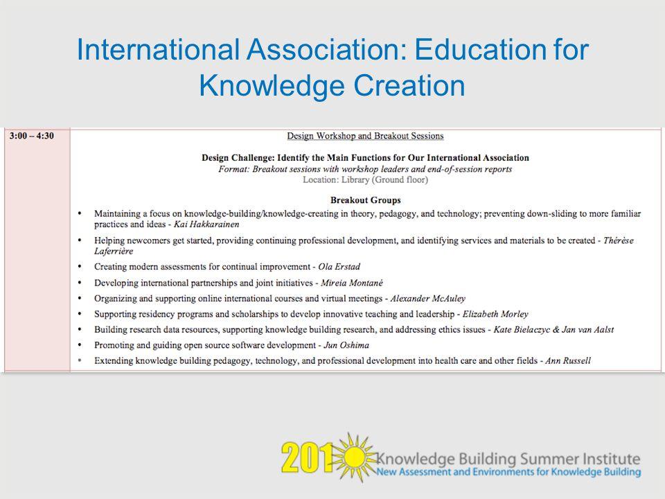 International Association: Education for Knowledge Creation
