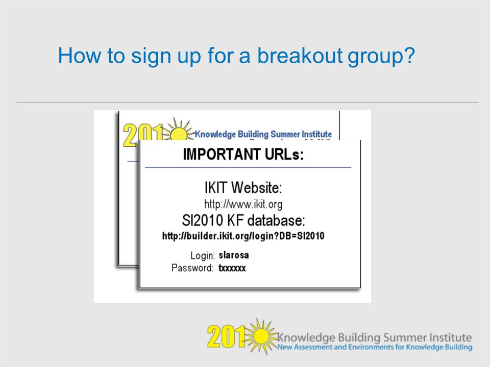 How to sign up for a breakout group