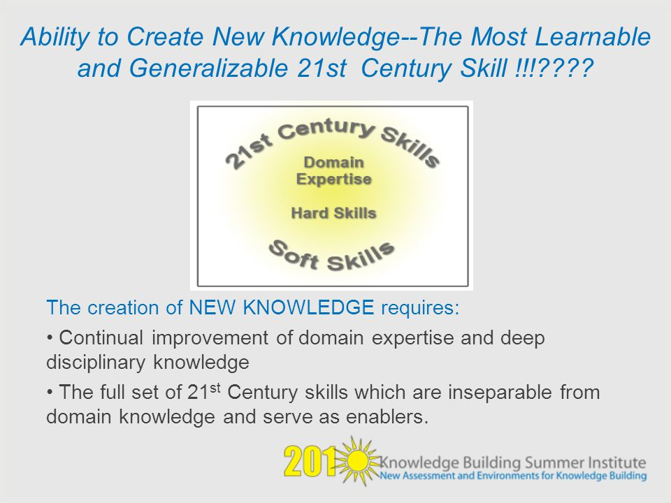 Ability to Create New Knowledge--The Most Learnable and Generalizable 21st Century Skill !!!