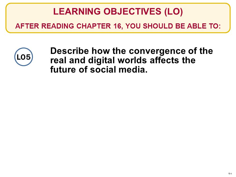 LEARNING OBJECTIVES (LO) AFTER READING CHAPTER 16, YOU SHOULD BE ABLE TO: