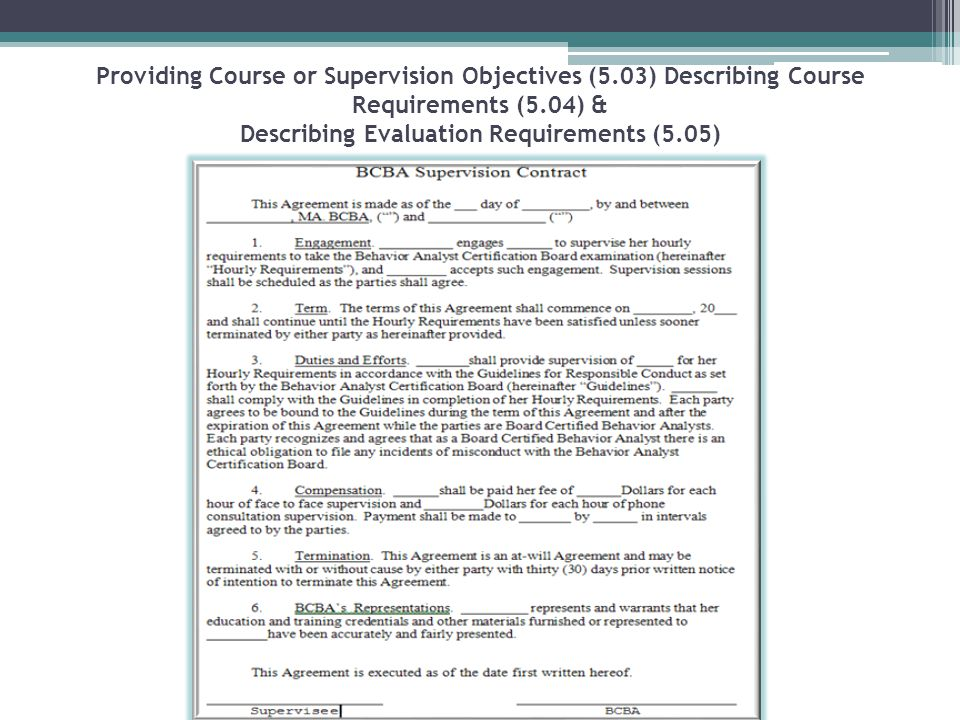Providing Course or Supervision Objectives (5