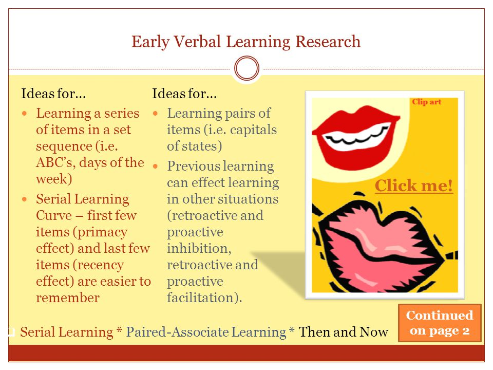 Early Verbal Learning Research