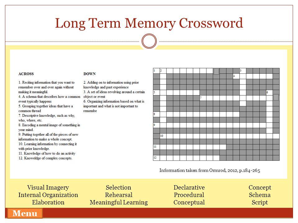 Long Term Memory Crossword