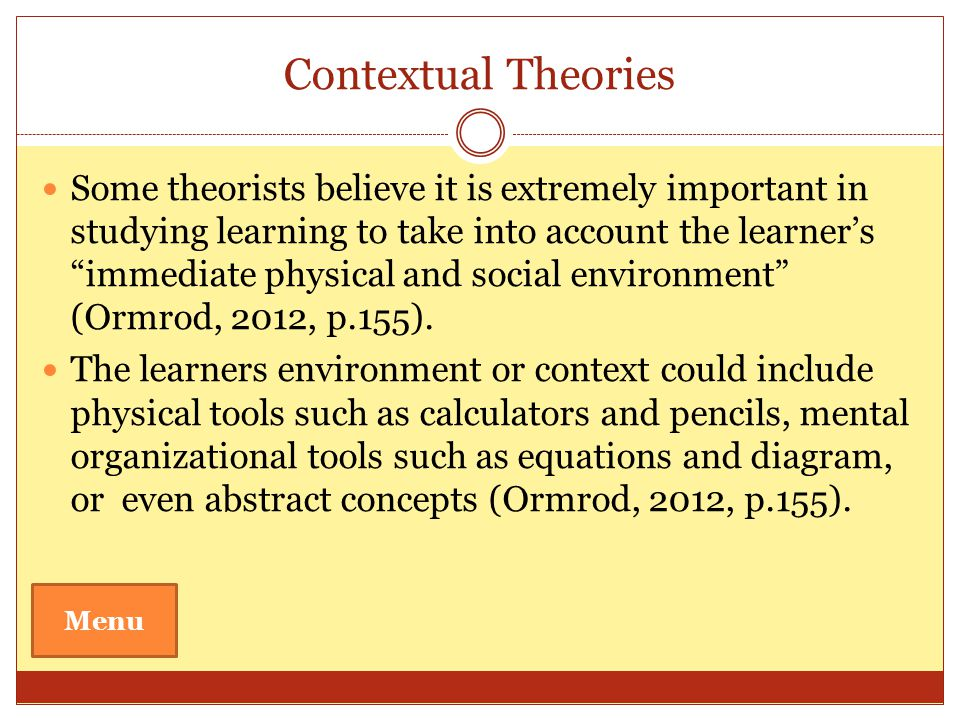 Contextual Theories