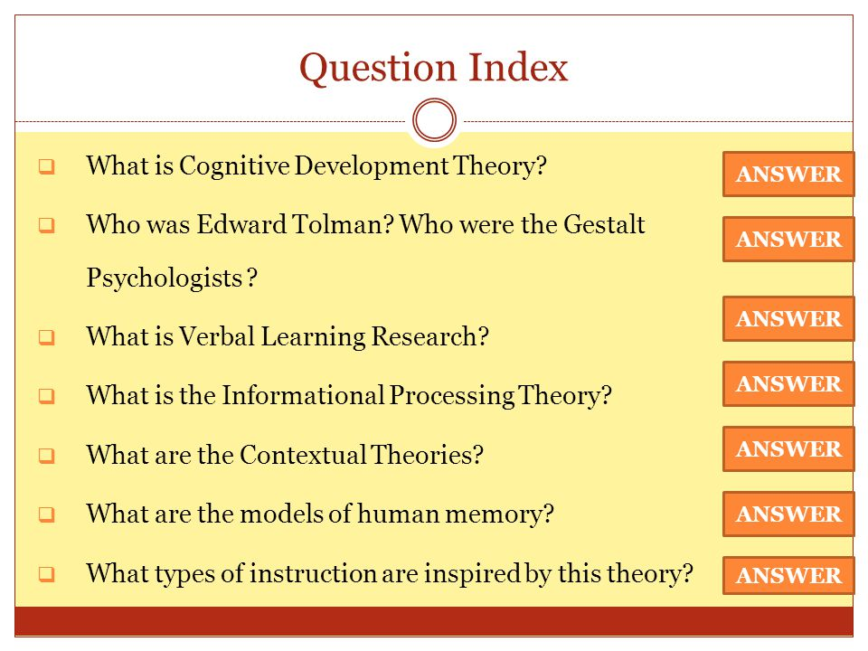 Question Index What is Cognitive Development Theory