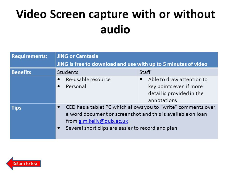 Video Screen capture with or without audio