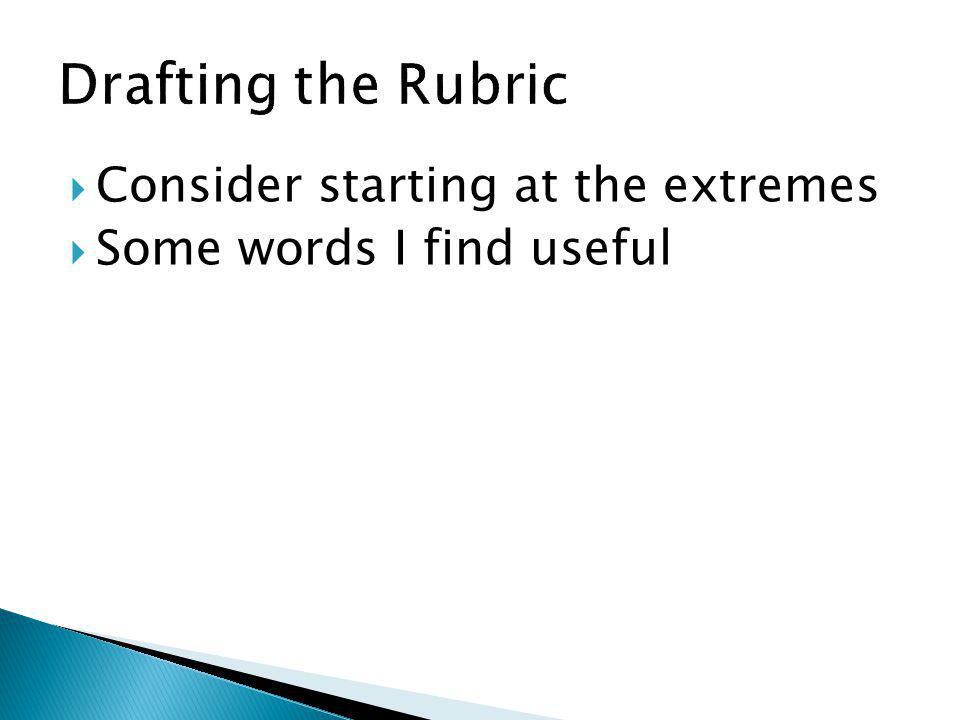 Drafting the Rubric Consider starting at the extremes