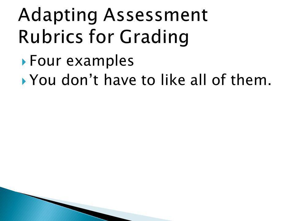 Adapting Assessment Rubrics for Grading