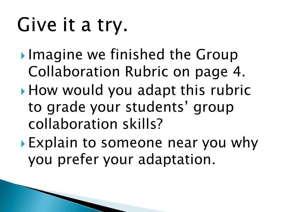 Give it a try. Imagine we finished the Group Collaboration Rubric on page 4.
