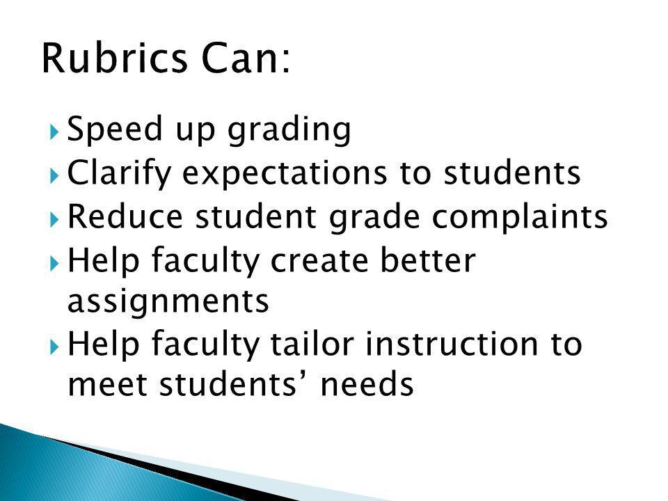 Rubrics Can: Speed up grading Clarify expectations to students