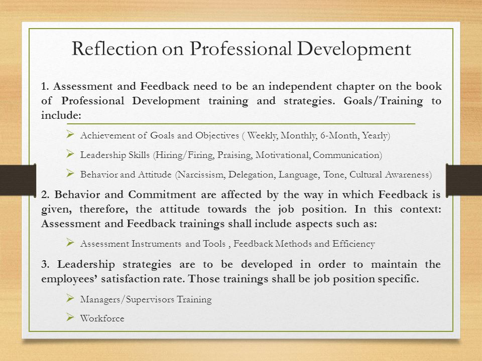 Reflection on Professional Development