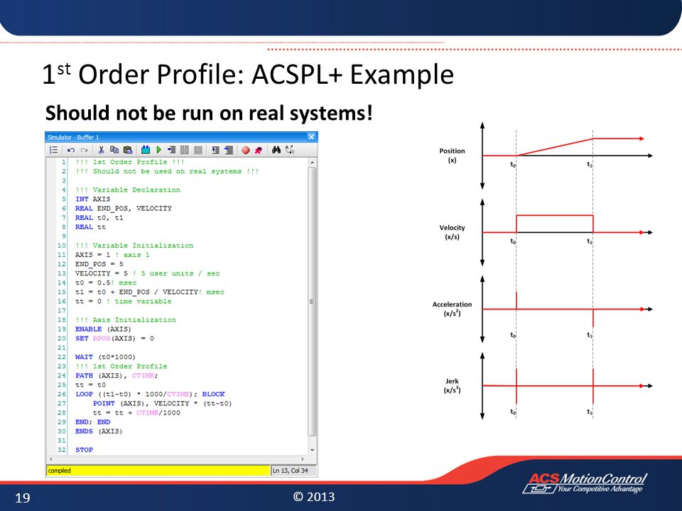 1st Order Profile: ACSPL+ Example