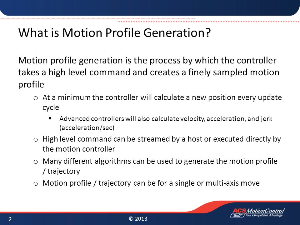 What is Motion Profile Generation