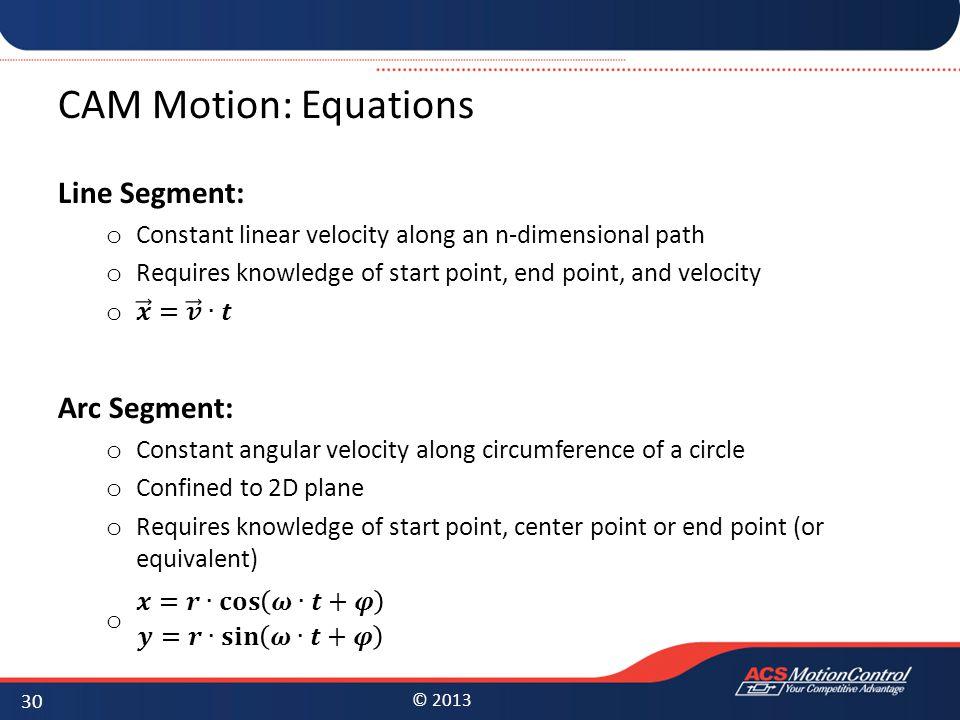 CAM Motion: Equations Line Segment: Arc Segment: