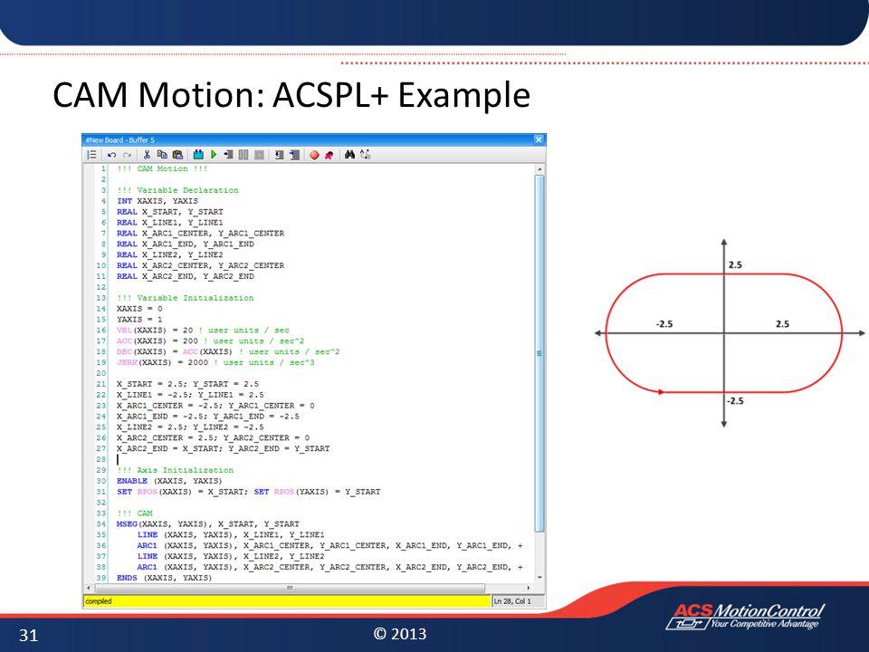 CAM Motion: ACSPL+ Example
