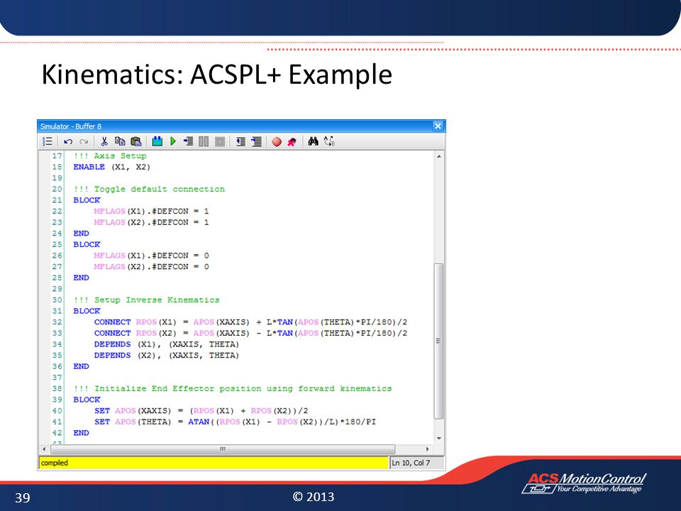 Kinematics: ACSPL+ Example