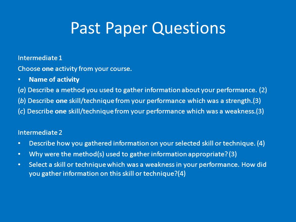 Past Paper Questions Intermediate 1