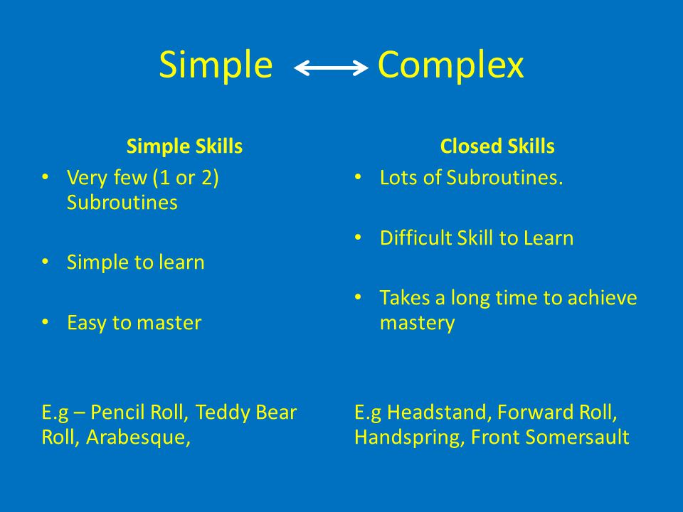 Simple Complex Simple Skills Closed Skills