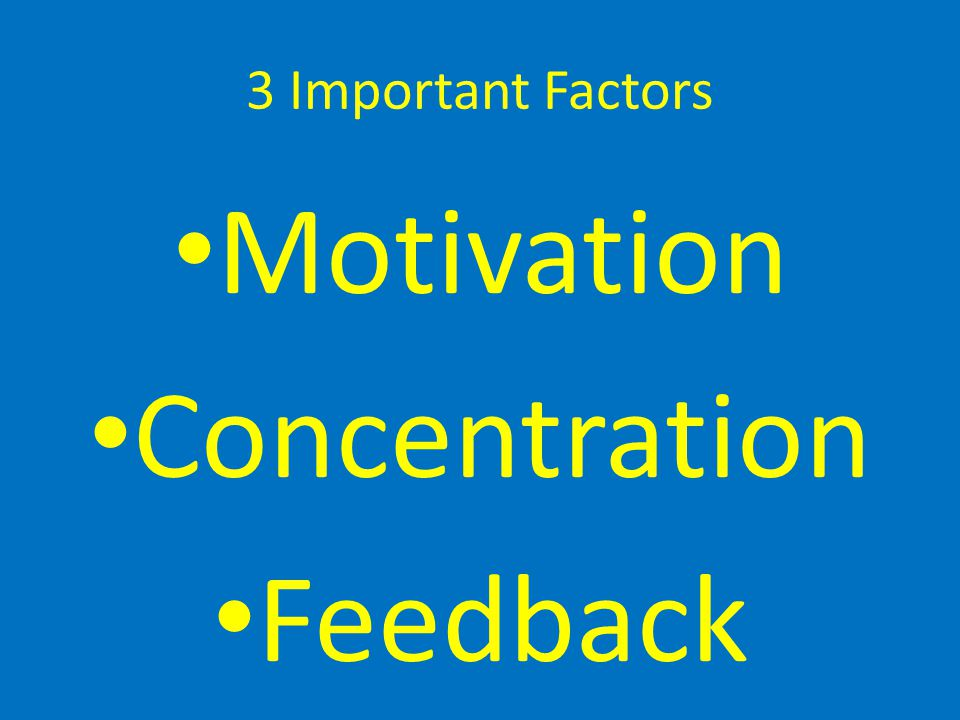 3 Important Factors Motivation Concentration Feedback