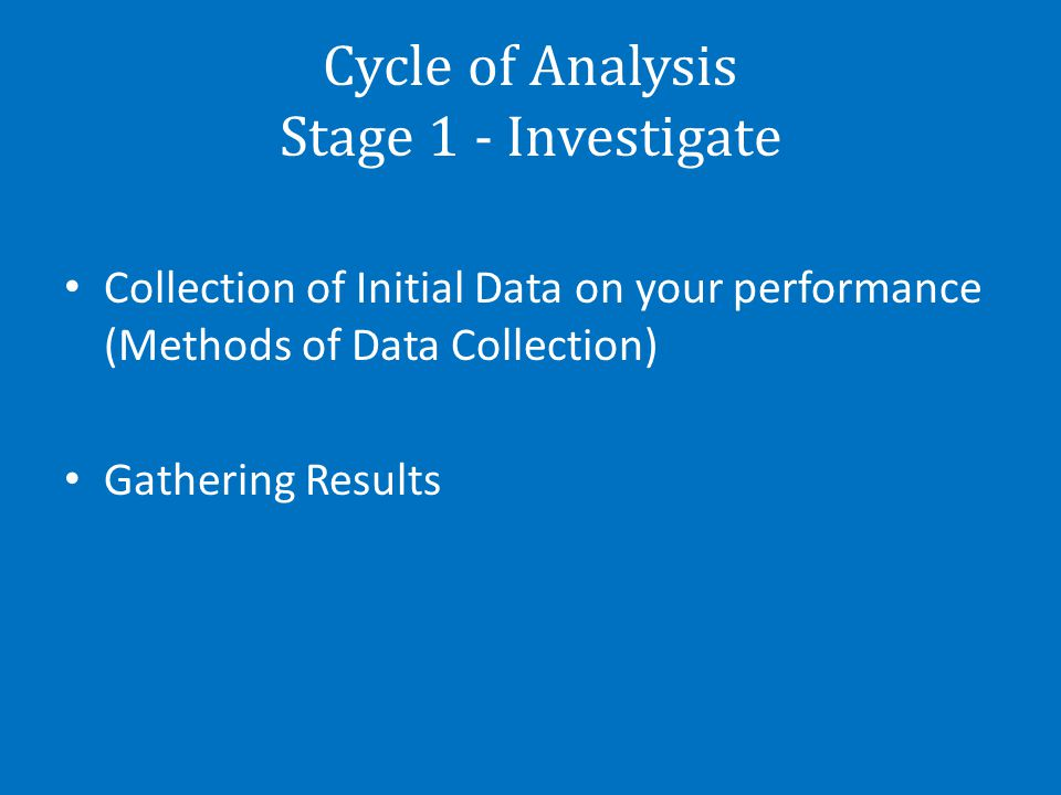 Cycle of Analysis Stage 1 - Investigate