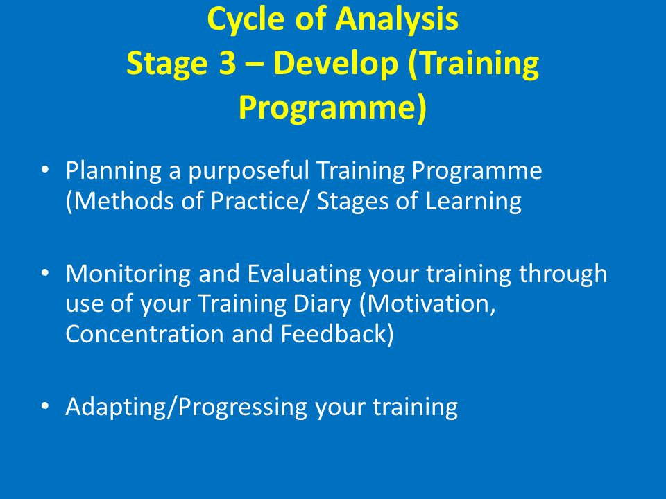 Cycle of Analysis Stage 3 – Develop (Training Programme)