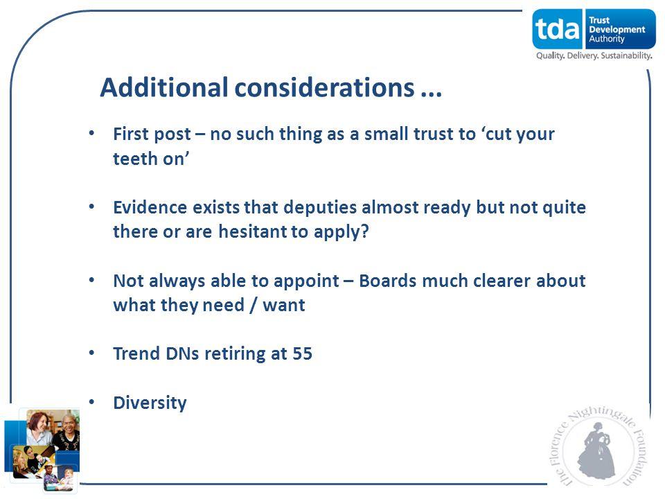 Additional considerations ...