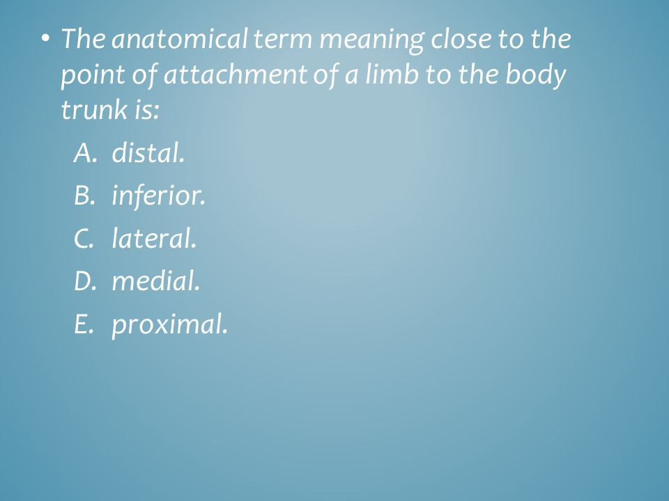 The anatomical term meaning close to the point of attachment of a limb to the body trunk is: