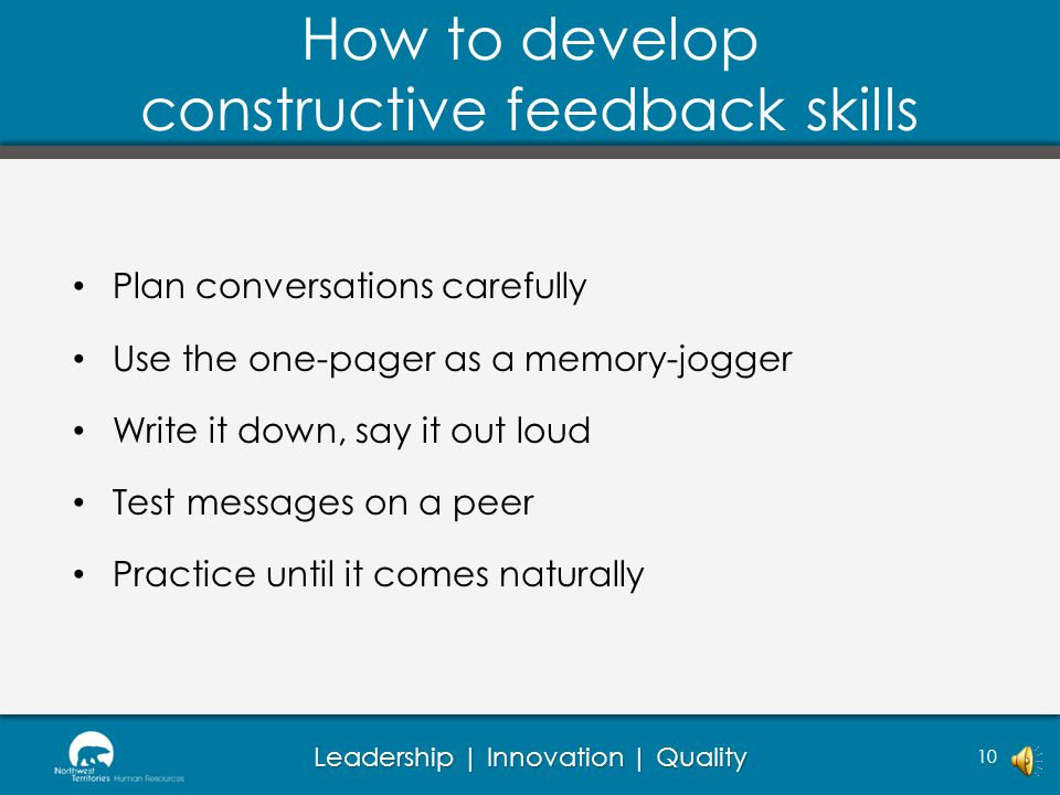 How to develop constructive feedback skills