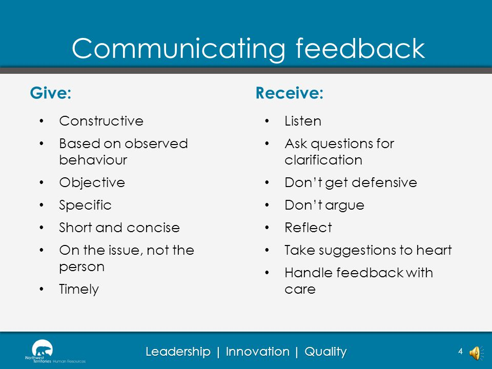 Communicating feedback