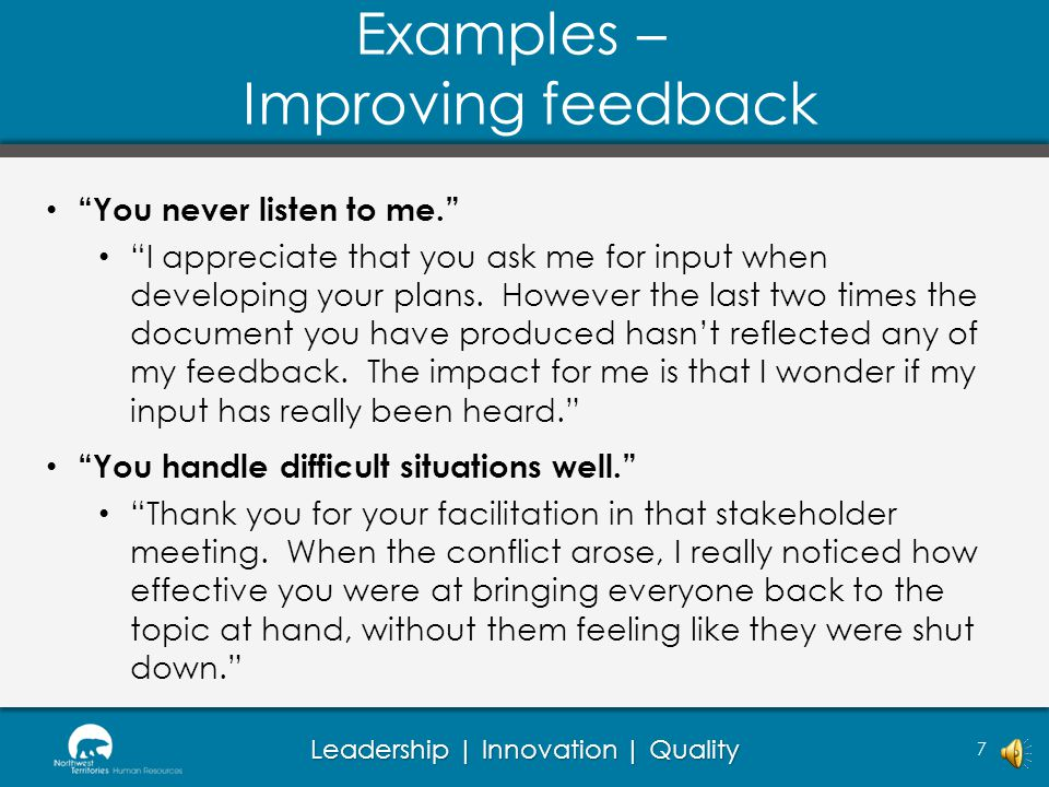 Examples – Improving feedback