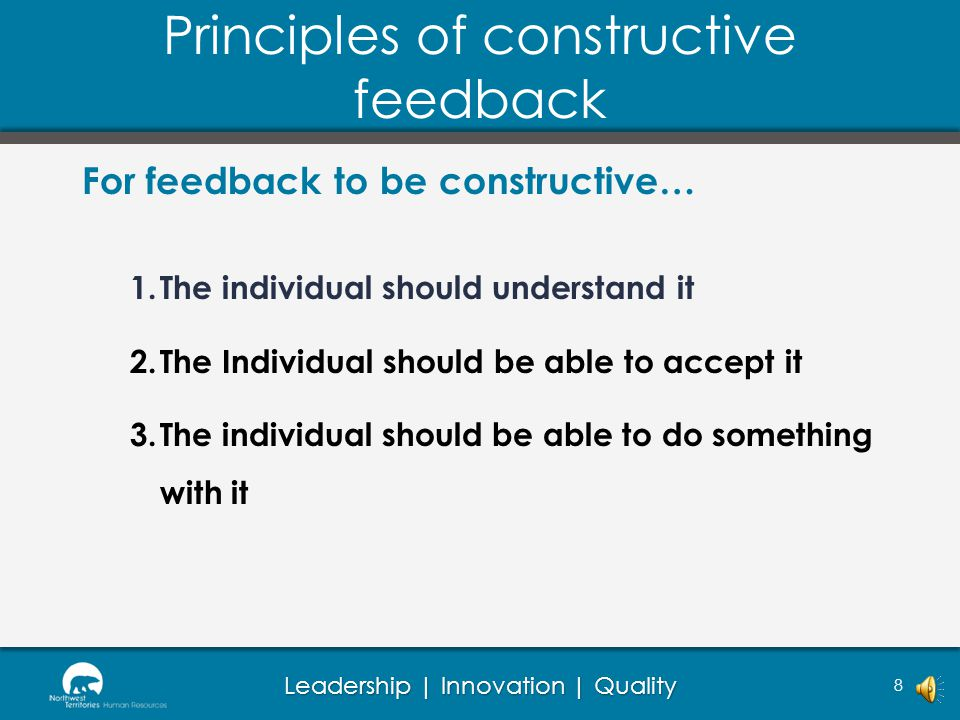 Principles of constructive feedback