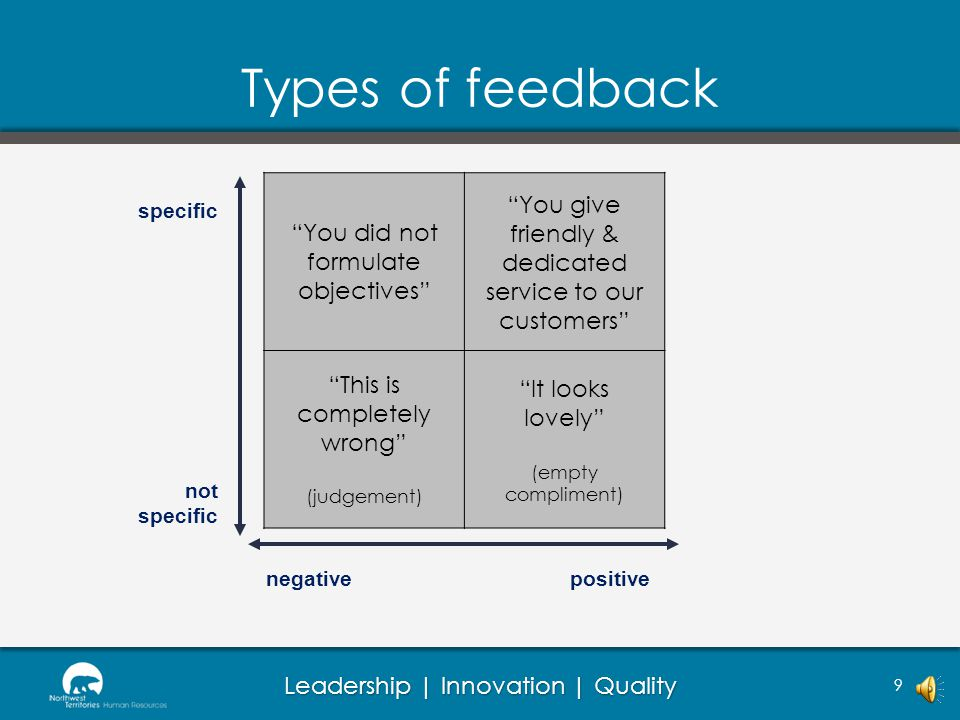 Types of feedback You did not formulate objectives You give friendly & dedicated service to our customers