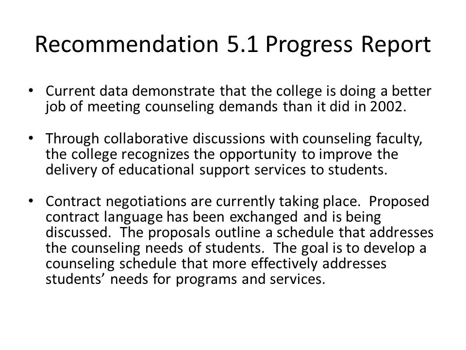 Accreditation – Progress Report Recommendations 3, 5.1, 7.1, Ppt